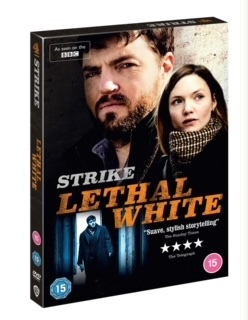 "An image of the DVD case for the BBC series ""Strike: Lethal White""."