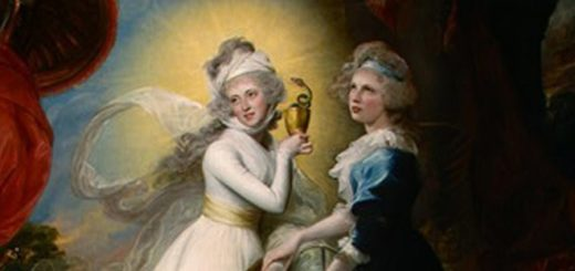 This is a painting of Una and Duessa, the doppelgangers in the Faerie Queene
