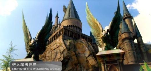 Universal Beijing's Hogwarts stands majestically on a boulder, with winged hog gates.