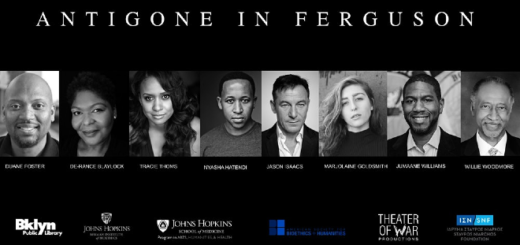 "The poster for ""Antigone in Ferguson"" is pictured."