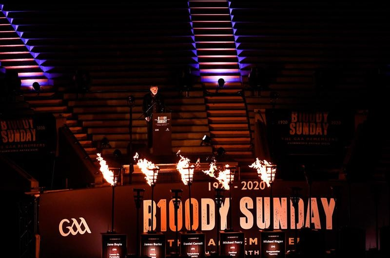Brendan Gleeson delivers a stirring speech during a ceremony in Dublin, Ireland, marking the centenary of Bloody Sunday.
