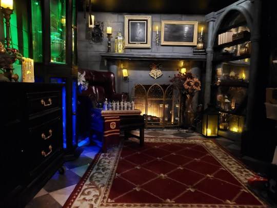 A dark and richly decorated Hogwarts-inspired room is shown with gothic decorations and colourful lights.
