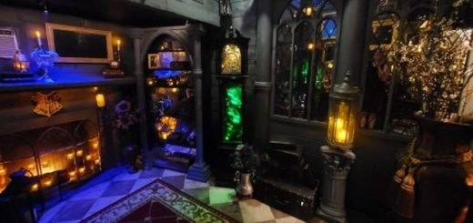 A dark and richly decorated room can be seen, with lots of Harry Potter items, colourful lights, and gothic decorations.