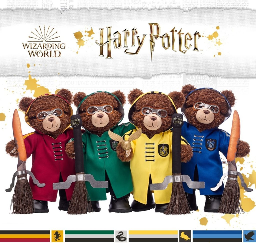 """Pictured are Build-A-Bear Workshop """"Harry Potter"""" bears in Quidditch robes holding broomsticks and a Golden Snitch."""