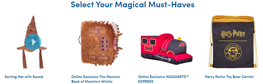 """Pictured are Build-A-Bear Workshop """"Harry Potter"""" accessories, including a talking Sorting Hat, Monster Book of Monsters, Hogwarts Express, and carrying bag."""