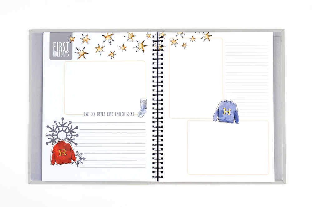 The Little Keeper Baby Album contains 66 pages, some which can be used to mark baby's first holidays.