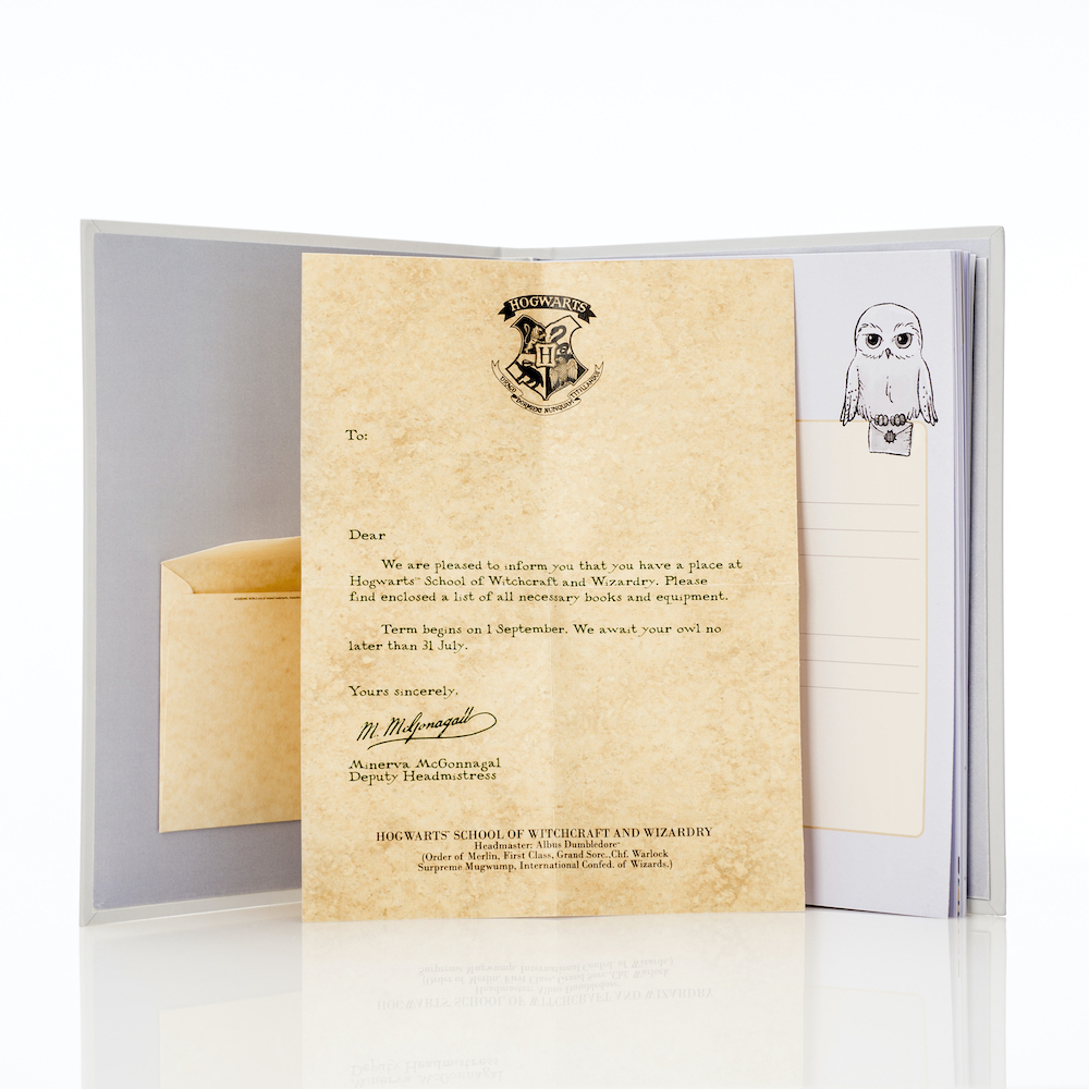 A fun addition to the baby album is a Hogwarts acceptance letter that can be saved for a child's 11th birthday.
