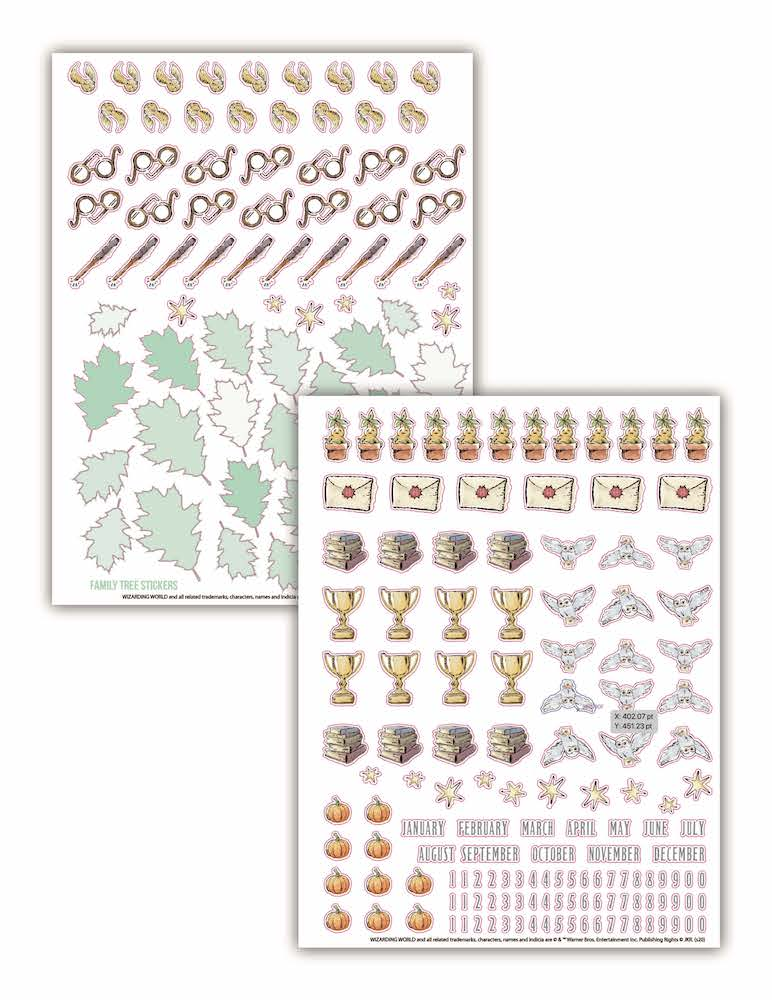The baby album comes with stickers featuring owls, mandrakes, and more.
