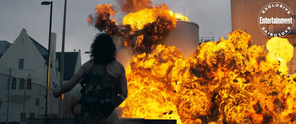 "Ezra Miller's character, the Trashcan Man, watches some of his arson work in a first-look image from ""The Stand."""