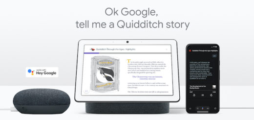 """A promotional image from Google shows text reading, """"Ok Google, tell me a Quidditch story."""" Below the text are Google Assistant-capable devices."""