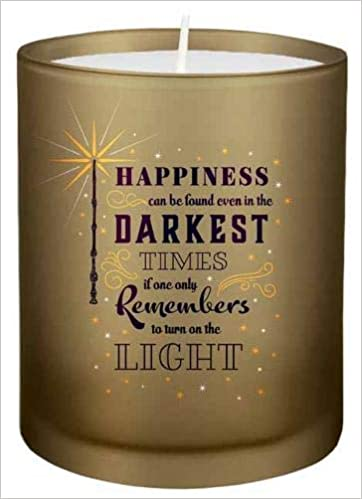 This candle has a Dumbledore quote on it.