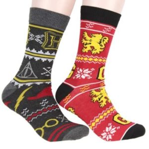 two different Harry Potter socks are modeled