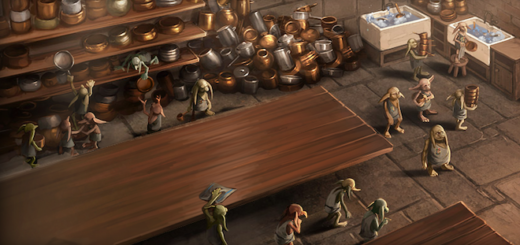This is an artist's drawing of the Hogwarts kitchens.