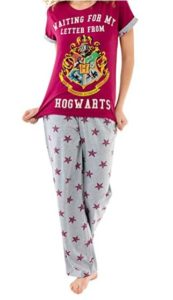 """red women's pajama top reads """"Waiting for my letter from Hogwarts"""" with Hogwarts crest, grey pajama bottoms with red stars"""