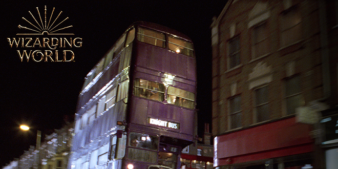 "Knight Bus from ""Prisoner of Azkaban"" film with Wizarding World logo"