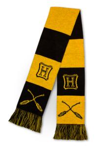 Nimbus broom–themed Hufflepuff scarf