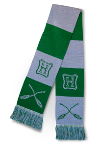 Nimbus broom–themed Slytherin scarf