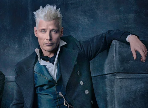 A photoshopped image of Mads Mikkelsen as Grindelwald.