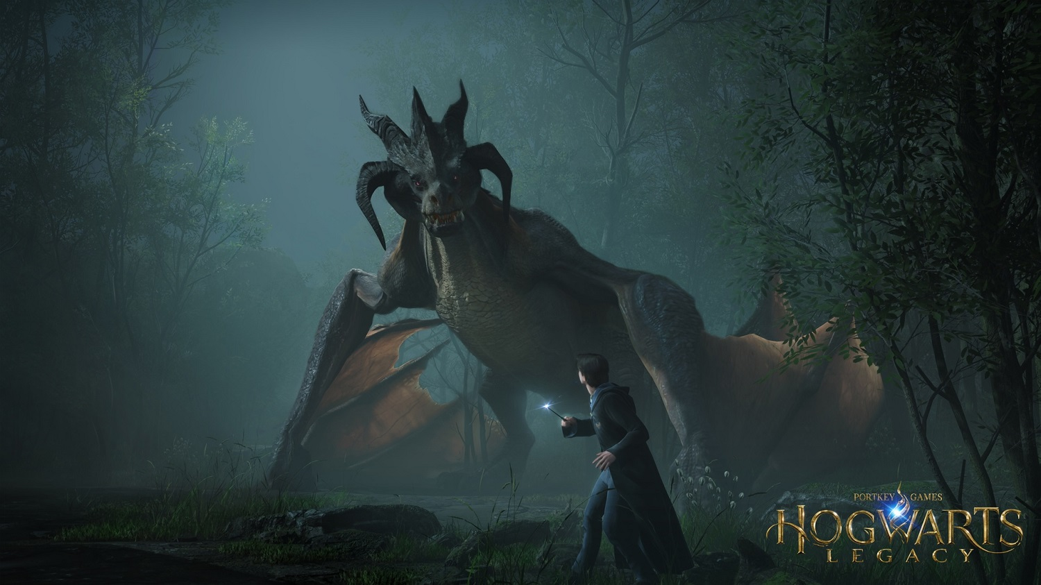 """A character in """"Hogwarts Legacy"""" prepares to face down a dragon."""