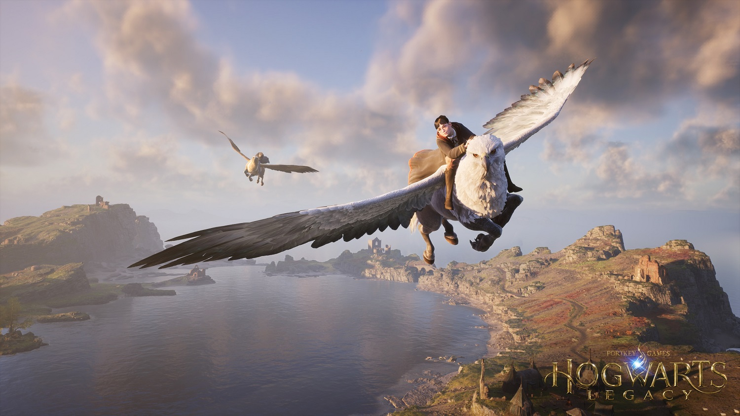 """A character in """"Hogwarts Legacy"""" enjoys a flight on the back of a hippogriff."""