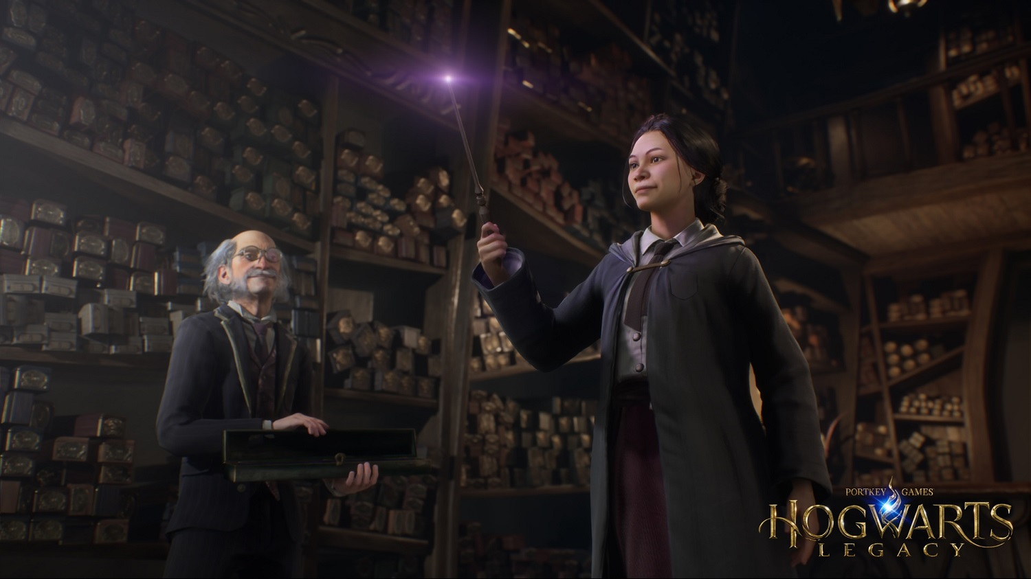 """A character in """"Hogwarts Legacy"""" is chosen by a wand."""