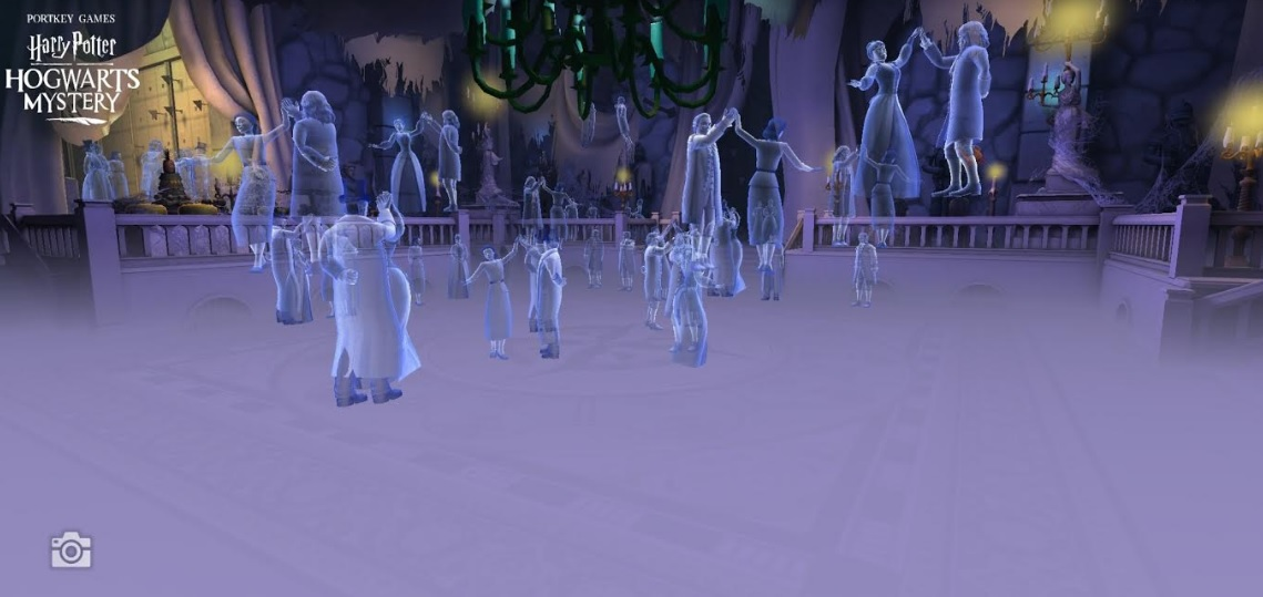 Ghosts dance across the floor – and through the air – in the Death Day Ballroom.