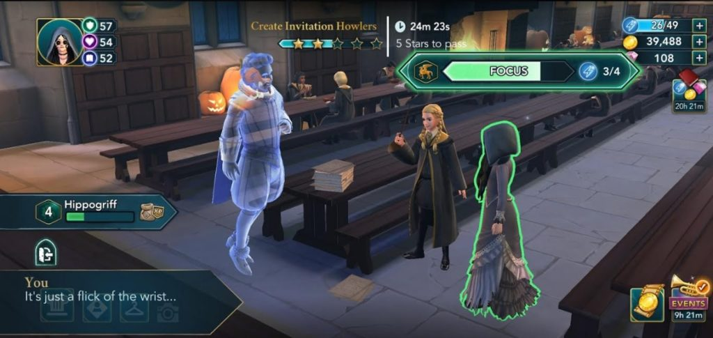 """Our character practices the all-important wrist flick while casting spells in """"Hogwarts Mystery""""."""