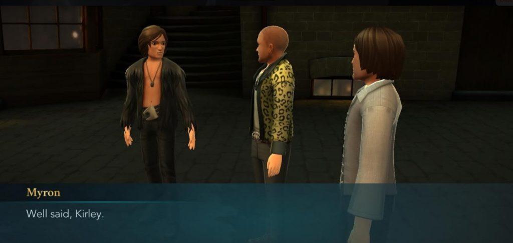 "Myron congratulates Kirley on his public speaking skills in ""Hogwarts Mystery""."