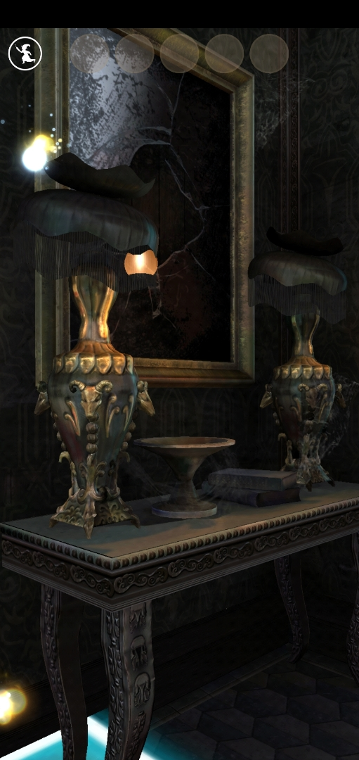 A selection of family heirlooms – probably cursed – sit on a table beneath a broken mirror at 12 Grimmauld Place.