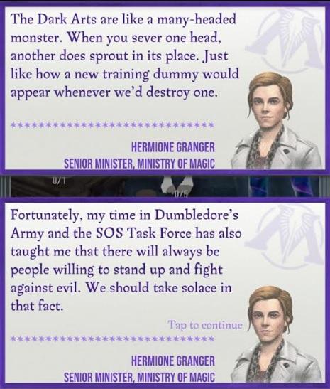 "Hermione Granger offers insight into the Dark Arts in ""Wizards Unite""."