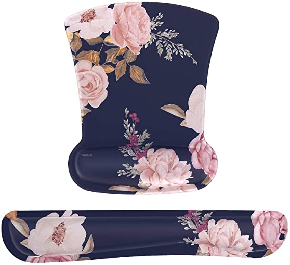 Navy floral cushioned mouse pad set