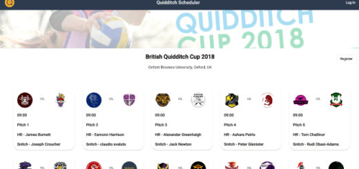 A screenshot from the Quidditch Scheduler website is shown as a featured image.