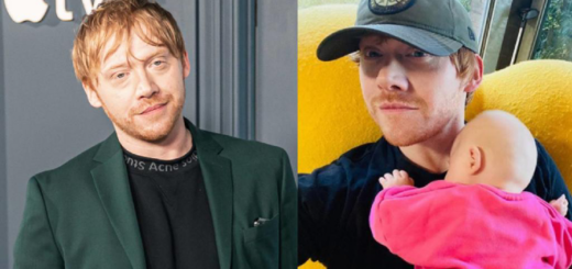 Rupert Grint with his newborn daughter, Wednesday.
