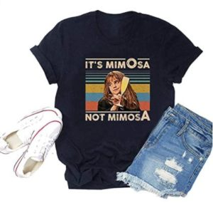 """T-shirt showing Hermione, reads """"It's MimOsa, not mimosA"""""""