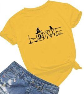 Harry Potter love T-shirt, design incorporating Platform 9 3/4, Deathly Hallows, brooms, wands