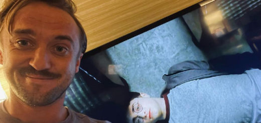 "Tom Felton taking a selfie while watching ""Harry Potter."""