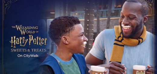 "A young boy in wizards' robes laughs with a man wearing a Hufflepuff scarf, both are holding cups of butterbeer and have butterbeer foam moustaches. Text on the left of the photo reads ""The Wizarding World of Harry Potter Sweets and Treats on City Walk."""