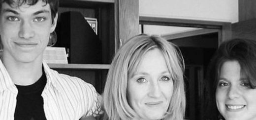 An image of Emerson and Melissa with JKR