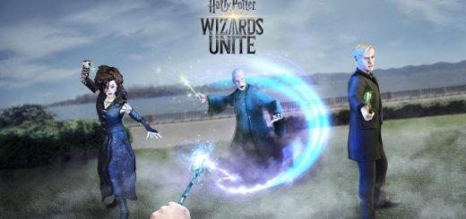 Wizards Unite Adversaries promo image showing Bellatrix, Voldemort, and Draco