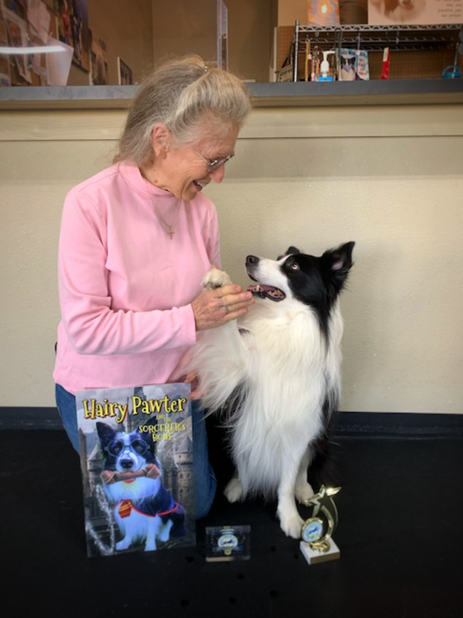 "Debbi Snyder and Amos won the 2020 AKC Trick Dog Competition using a ""Harry Potter"" routine."