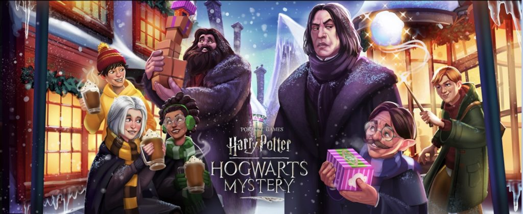 "Characters from ""Hogwarts Mystery"" enjoy a little holiday fun in Hogsmeade."