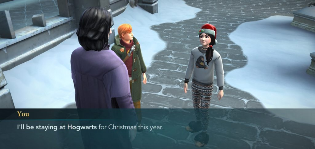 "Your character informs Severus Snape they will be staying at Hogwarts for the holidays in ""Hogwarts Mystery."""