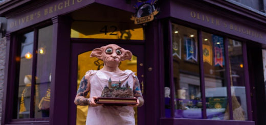 Oliver Dall dressed as Dobby holding Hogwarts Castle model
