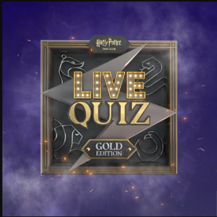 A banner for the Harry Potter Fan Club's Gold Live Quiz is shown.