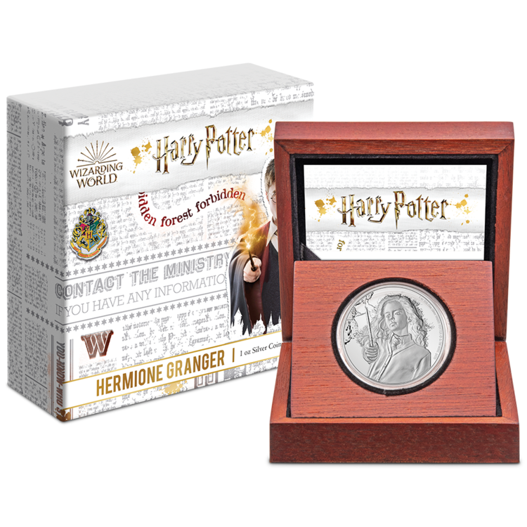 The new Hermione Granger coin from the New Zealand Mint is shown in its decorative box.