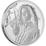 Pictured is a silver coin featuring Hermione Granger from the New Zealand Mint.