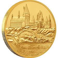 The Hogwarts Castle coin in gold features an image of the iconic school on a 1 oz. coin.