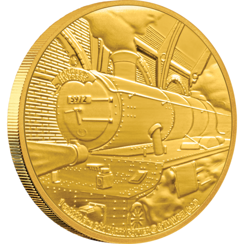 The Hogwarts Express coin in gold depicts the train with steam rising from its engine.