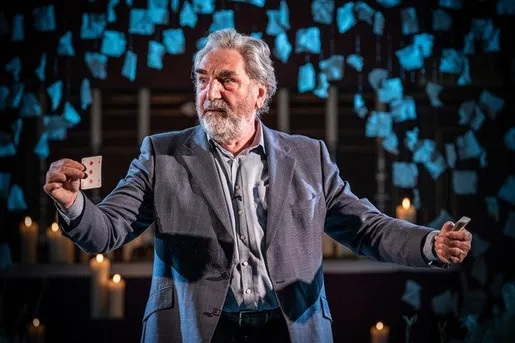 Jim Carter gestures as he rehearses for the Donmar Warehouse's holiday production.