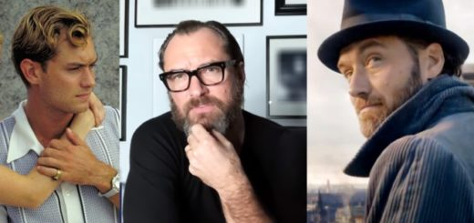 A split image of Jude Law as Dickie in The Talented Mr. Ripley, as Dumbledore in Fantastic Beasts, and as himself on Zoom is shown.